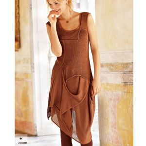 Peruvian Connection Brown Pima Cotton Dress M